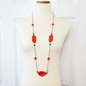 Paparazzi Crystal Charm Red Long Necklace